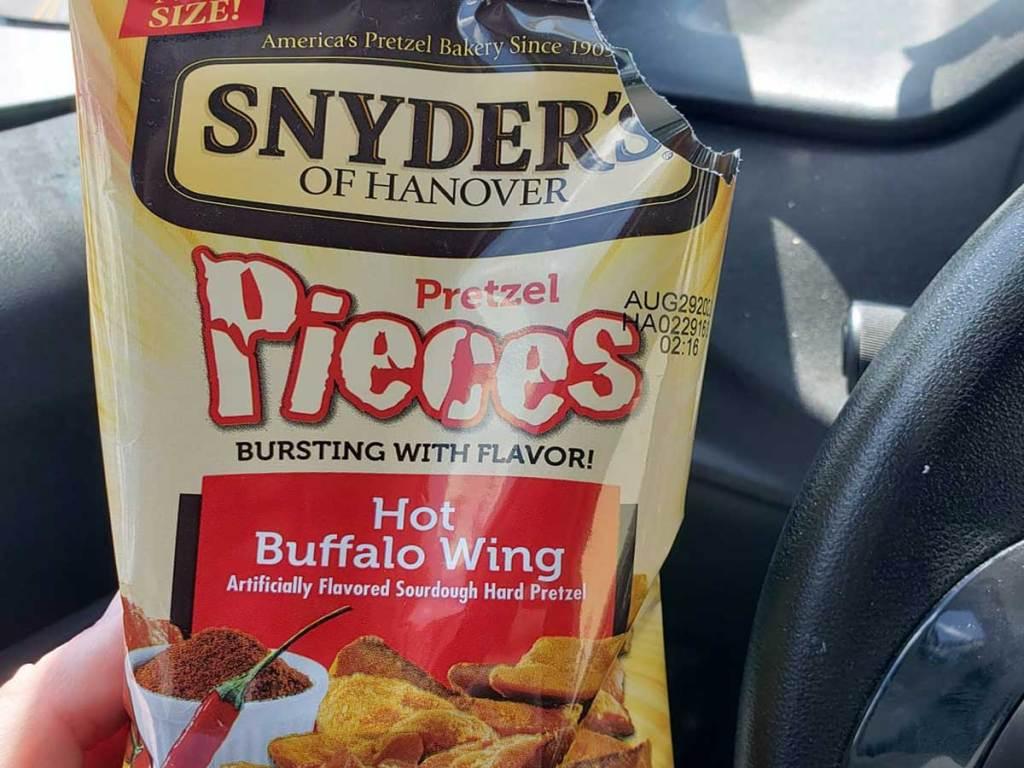 up close bag of pretzel pieces