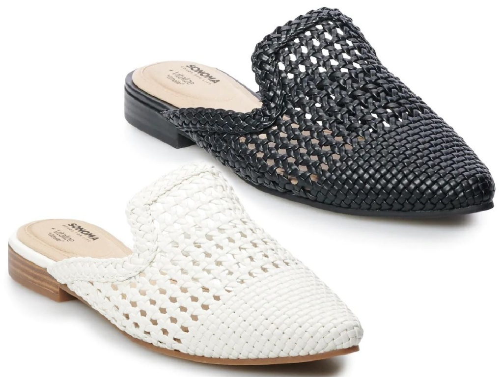 sandals with one white and one black shoe
