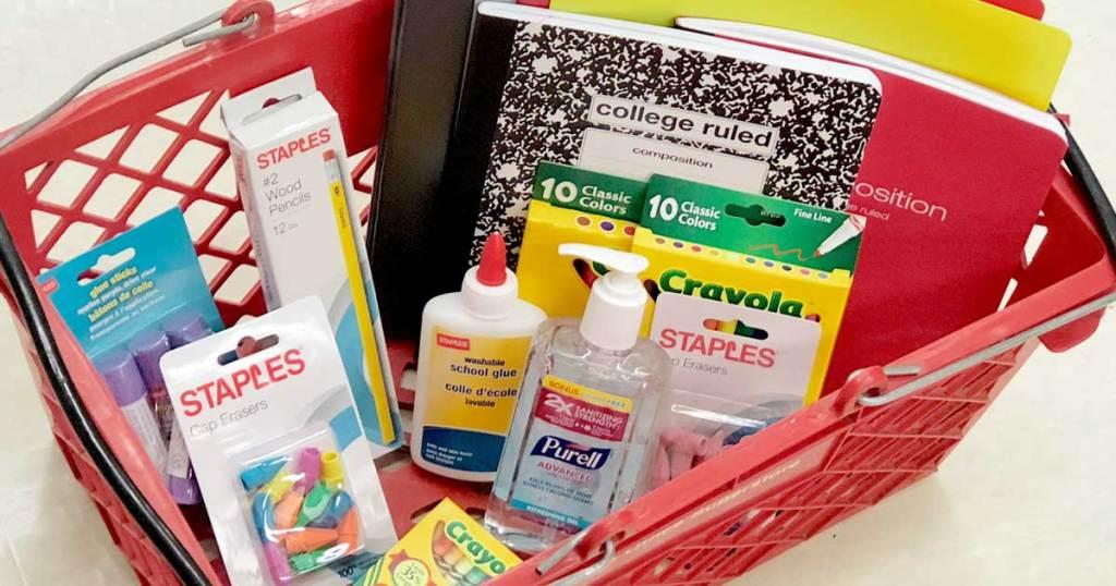 staples basket full of school supplies