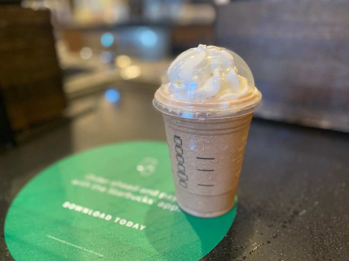 Starbucks frappuccino with whipped cream in-cafe