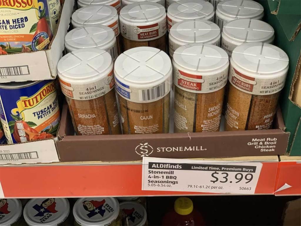 4 in 1 bbq seasonings on a shelf in a store
