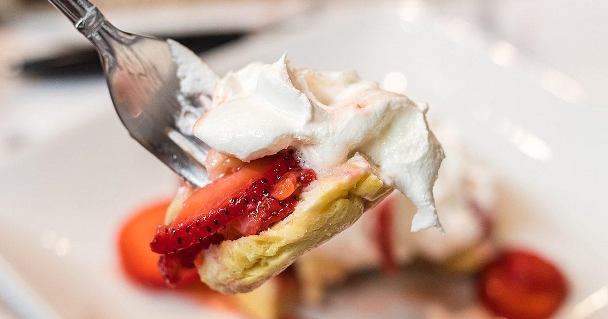 strawberry shortcake on a fork
