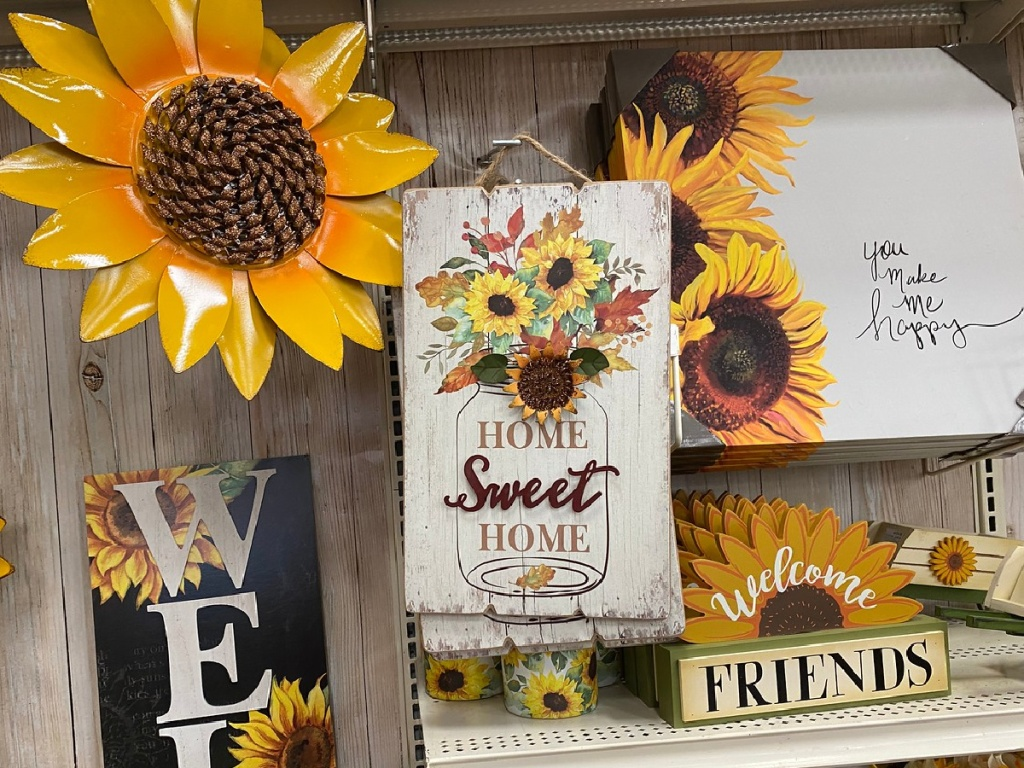 store wall with sunflower decor on display