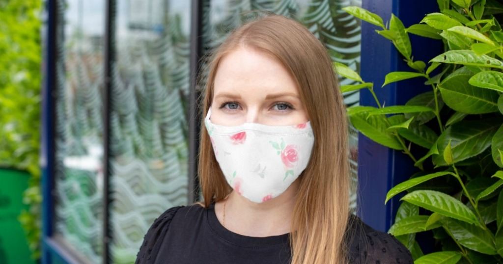 woman wearing floral print face mask