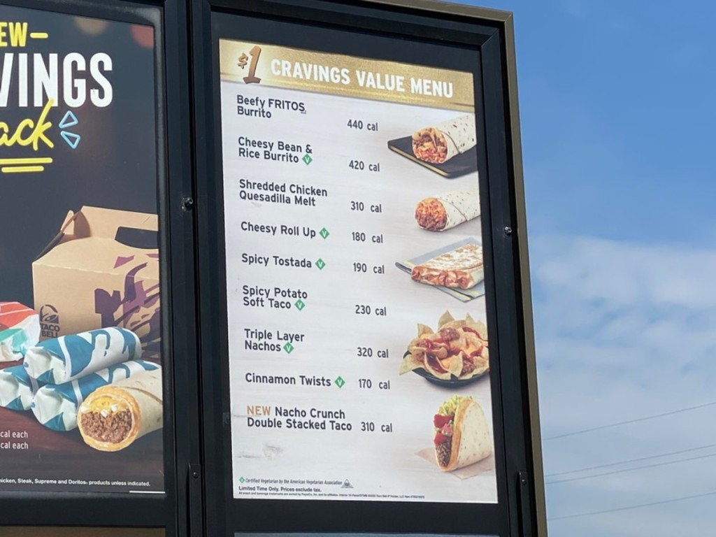 Taco Bell Cravings Menu in drive-thru