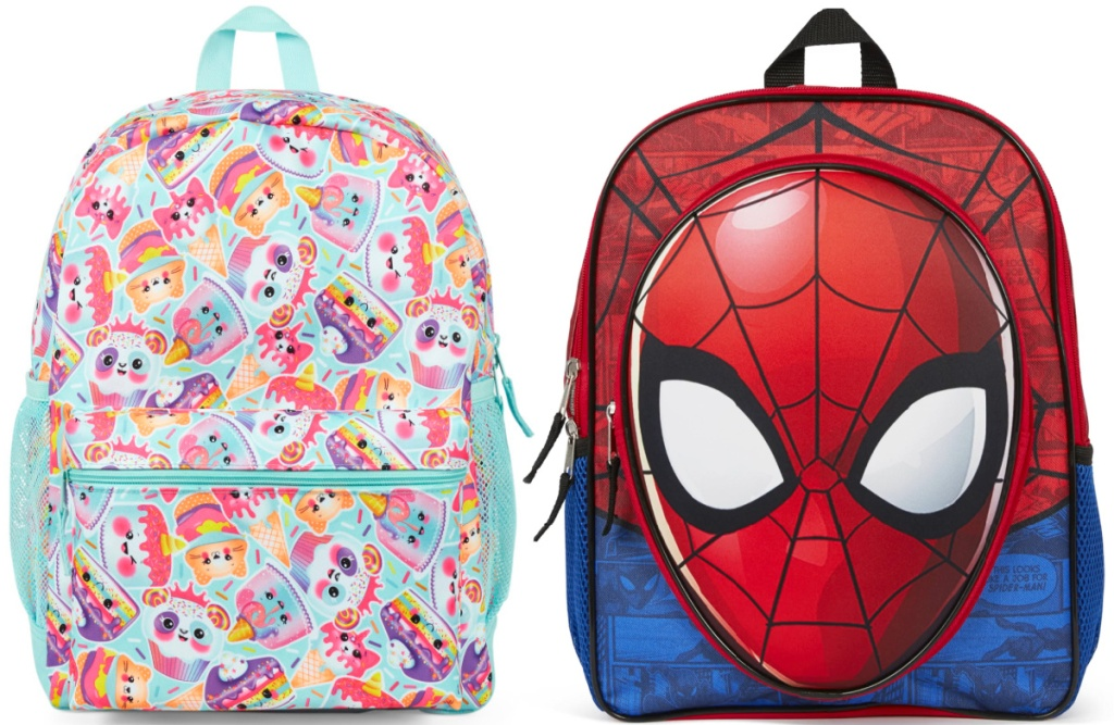 animal backpack and spider-man backpack