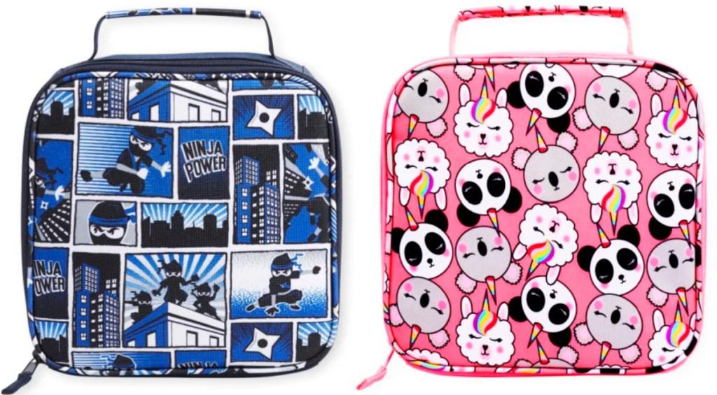 blue ninja lunch bag and pink animal lunch bag