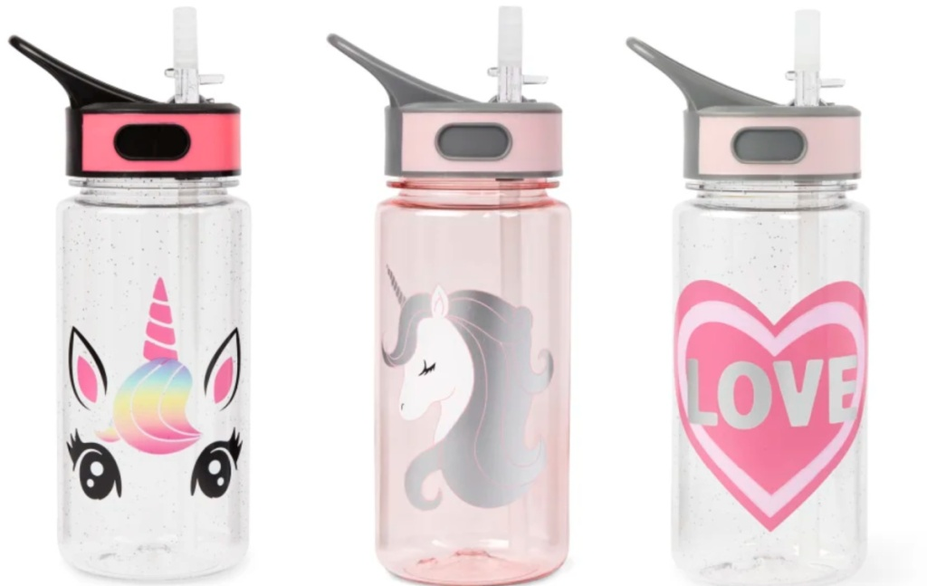 unicorn and love graphic water bottles