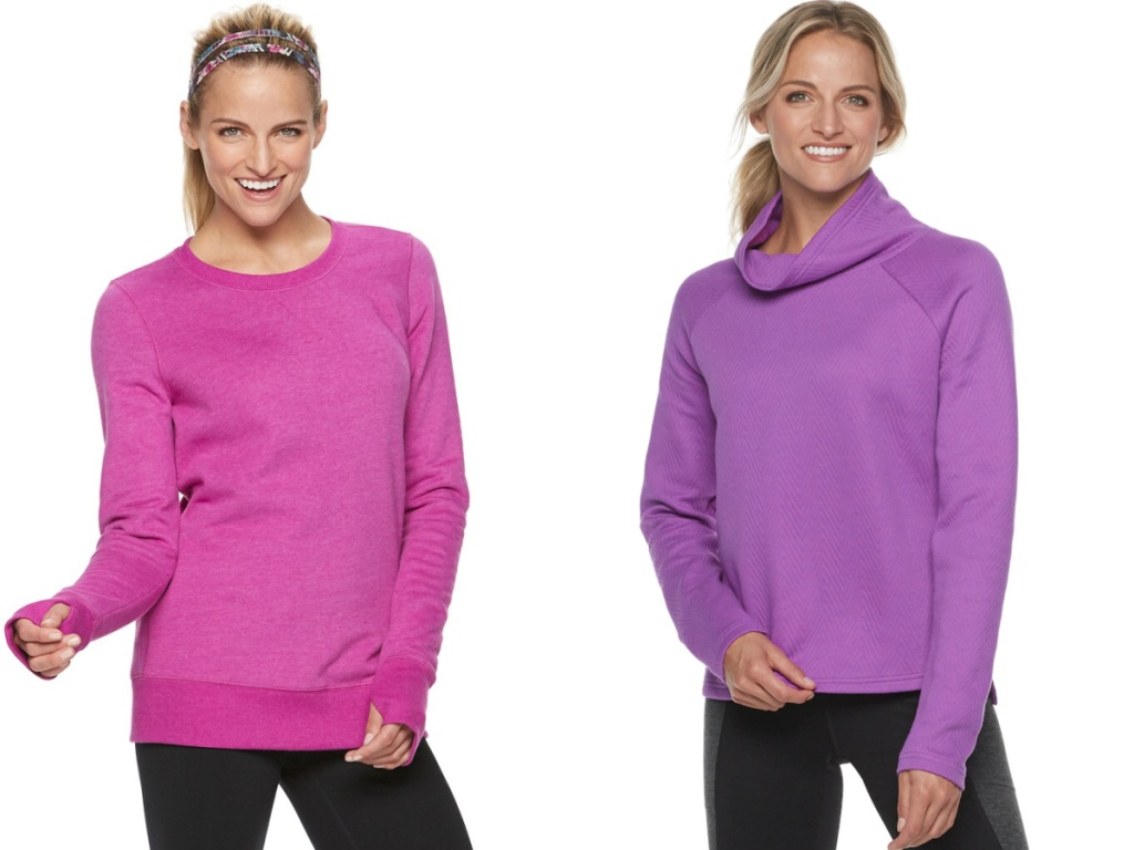 women wearing pink and purple sweaters