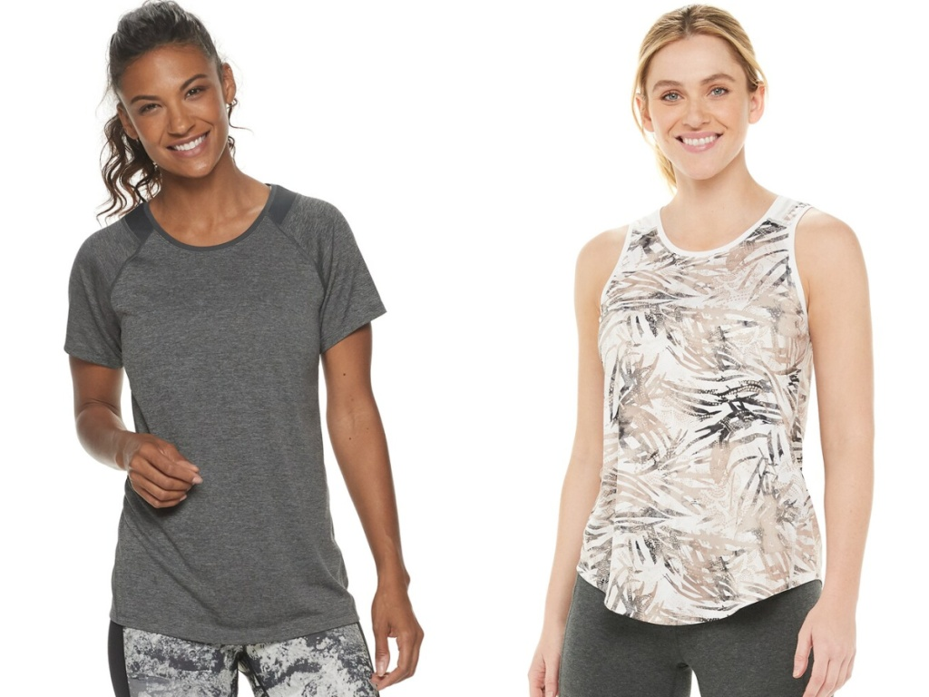 women wearing gray tee and printed tank