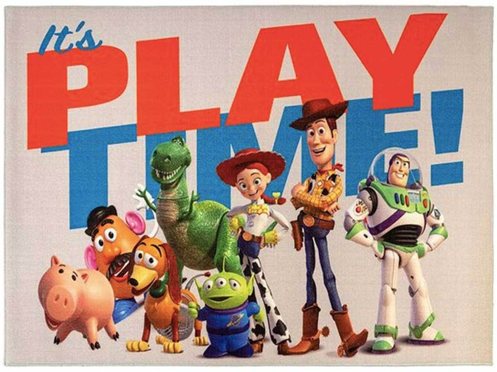 toy story rug with the cast and words