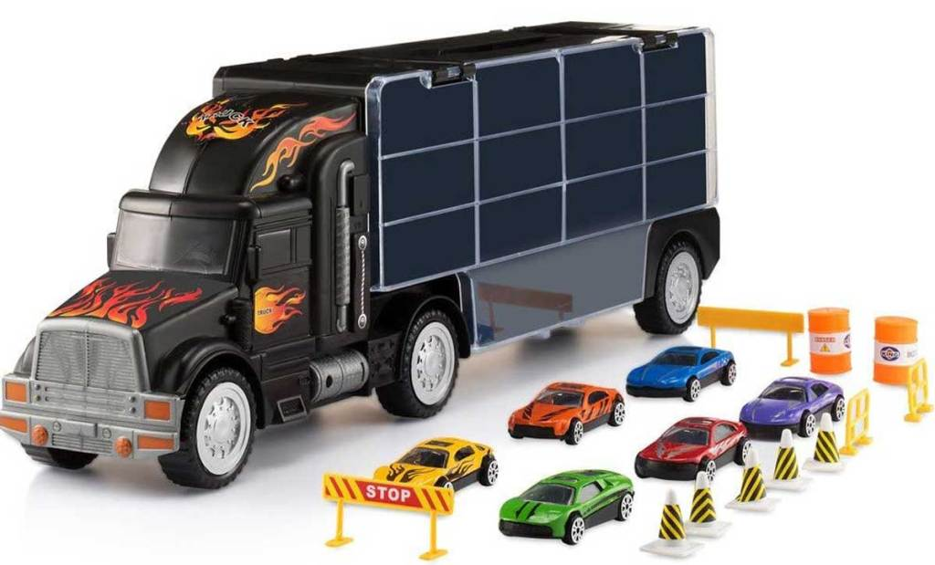 toy truck carrier with accessories