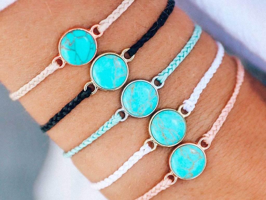turquoise bracelets on a wrist