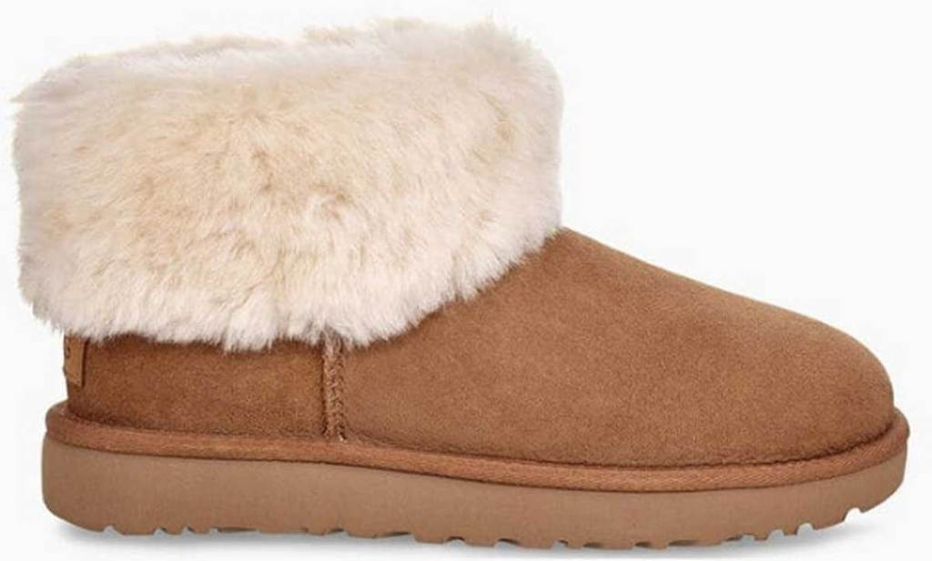 low boot with fur on inside