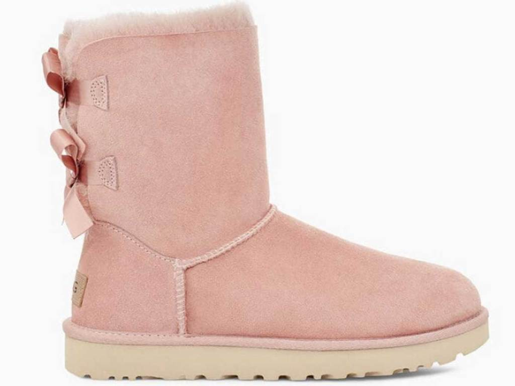 pink boots with bows on back