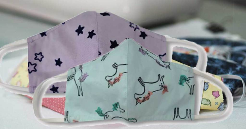 printed kids face masks unicorns and stars