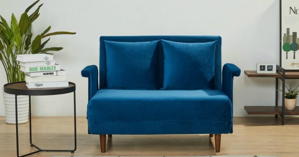 velvet blue convertible chair