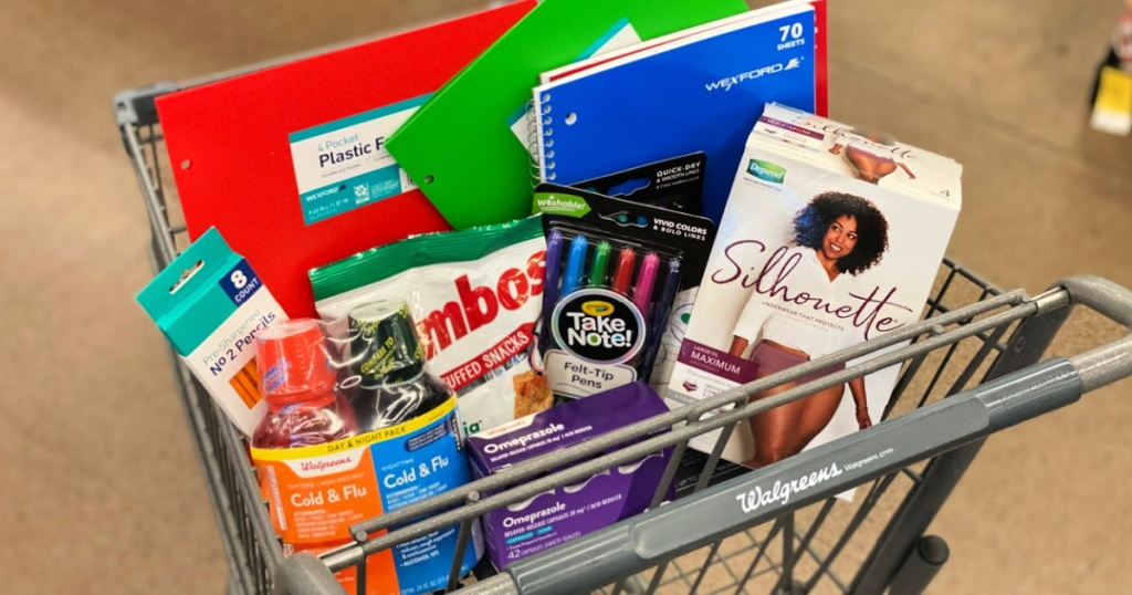 walgreens shopping cart with depends, school supplies, combos and more