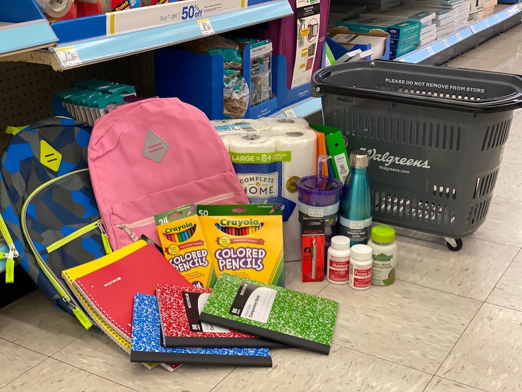 Walgreens deals on floor in store by shopping basket