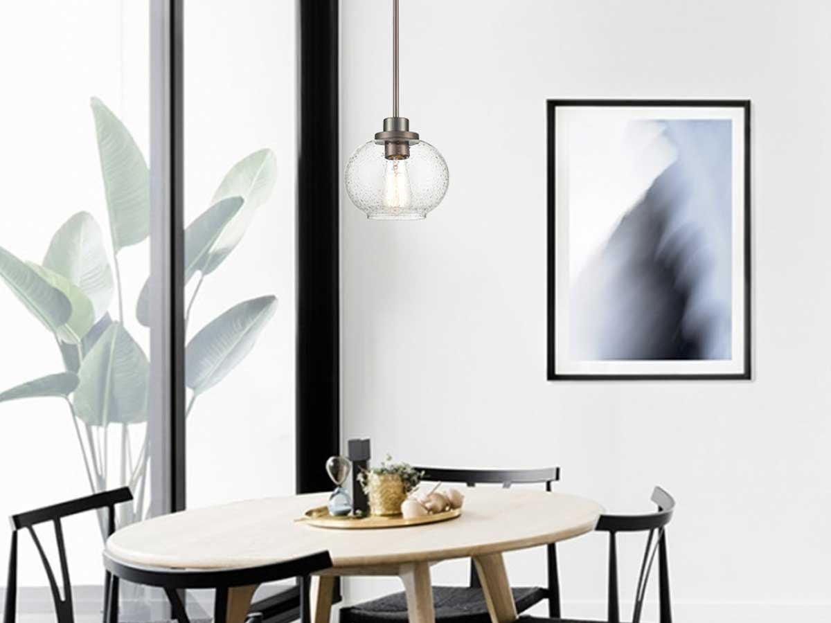 pendant light hanging above table