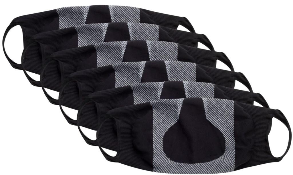black and gray hanes fabric masks