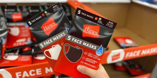 Hanes Reusable Face Masks 5-Pack Only $7.50 at Walmart | Just $1.50 Each