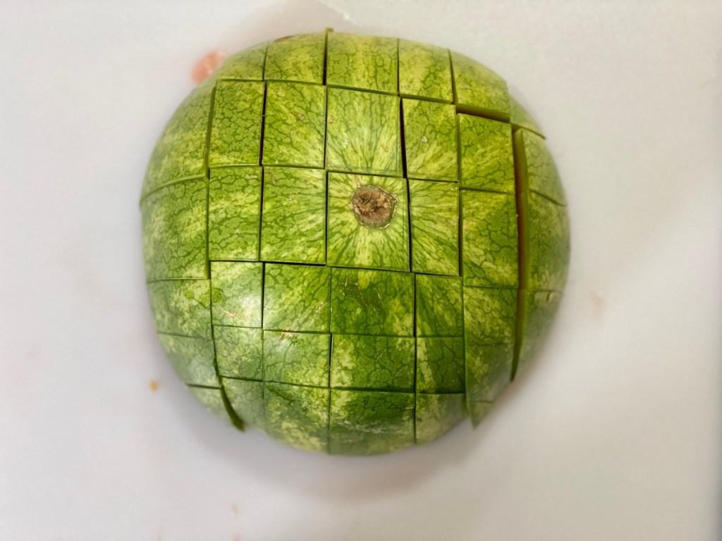 watermelon rind cut into a grid pattern