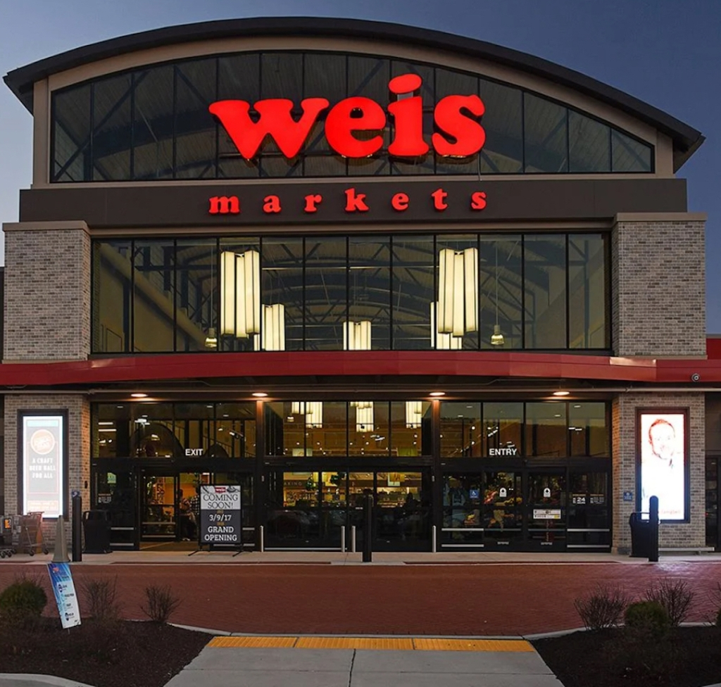 weis market grocery store front in dark