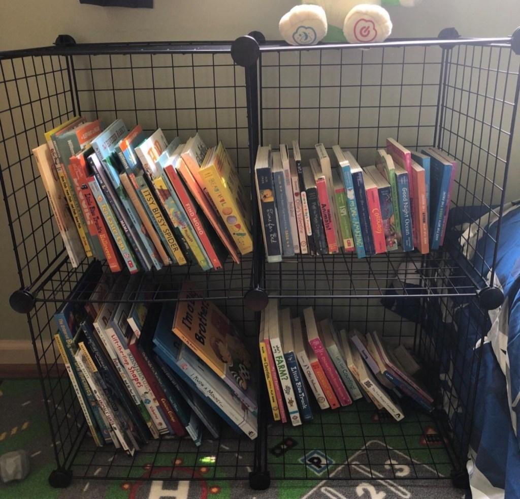 black wire cubes holding children's books