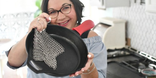 This Cast Iron Cookware Scrubber Has Over 1,700 5-Star Reviews & I Can See Why