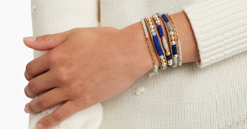 woman wearing a Lucky Brand Two-Tone Stone & Bead Leather Flex Bracelet