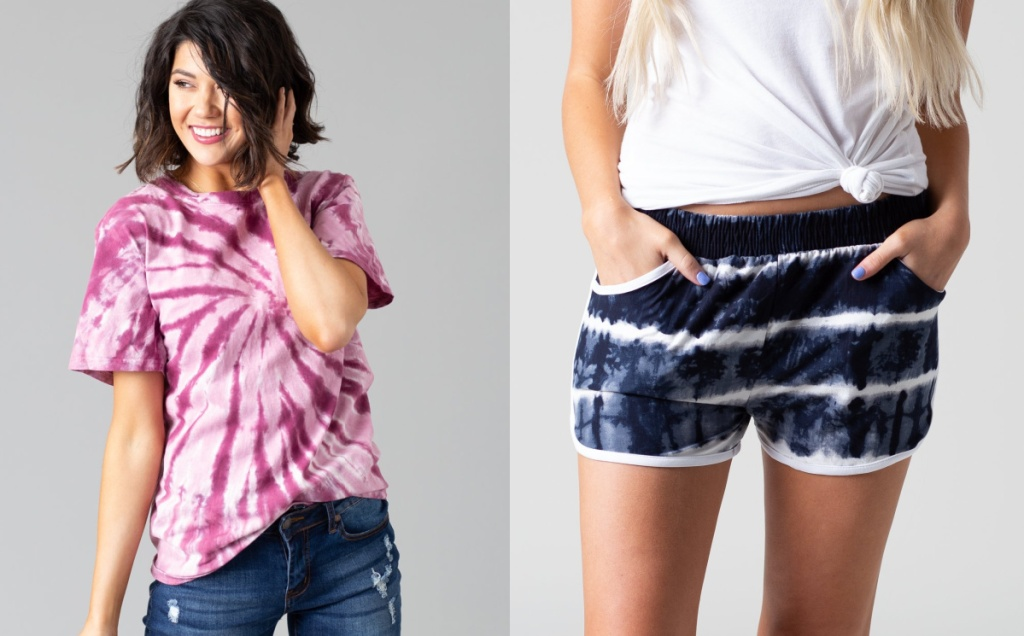 woman wearing a tiedye t-shirt and woman wearing blue and white tiedye shorts