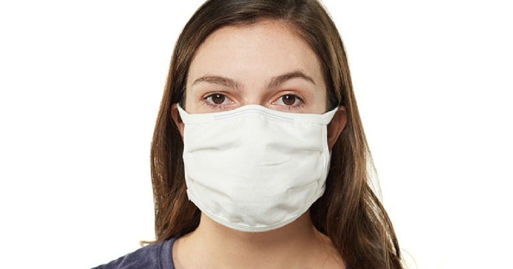 woman wearing a white hanes face mask