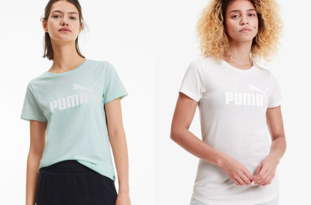 women wearing a Puma Essentials + Women's Heather Tee