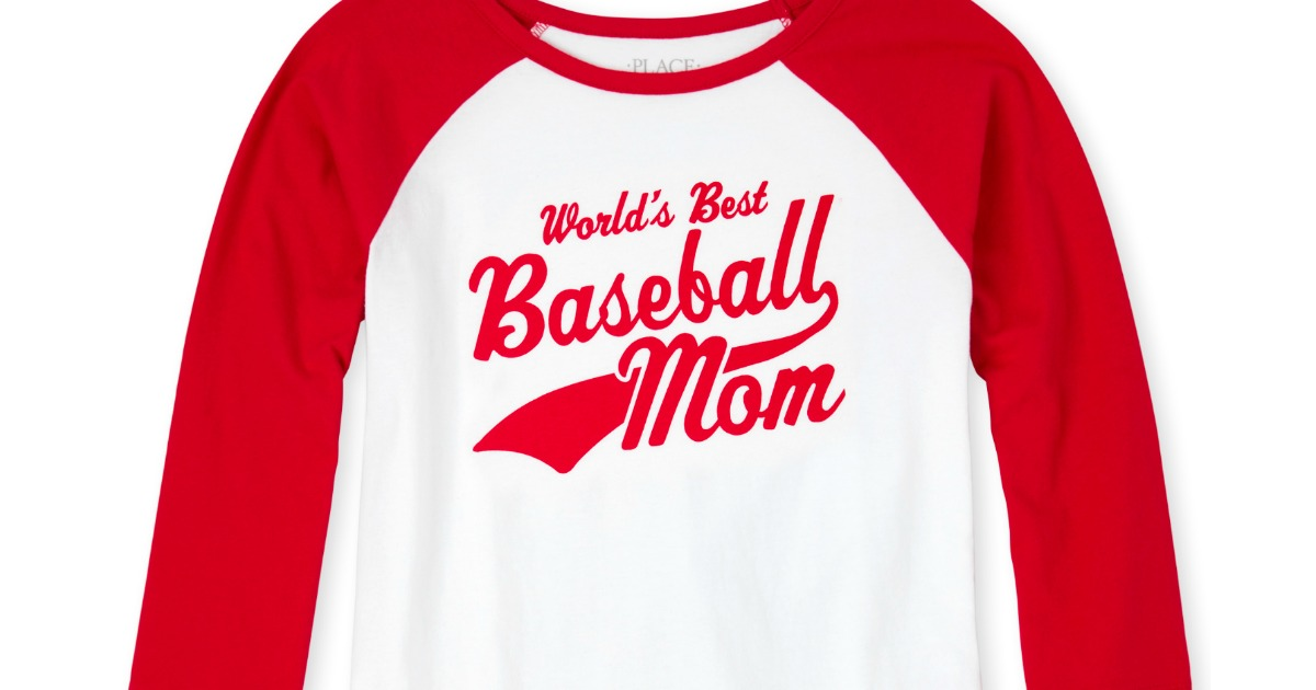 red and white long sleeve raglan shirt that says worlds best baseball mom