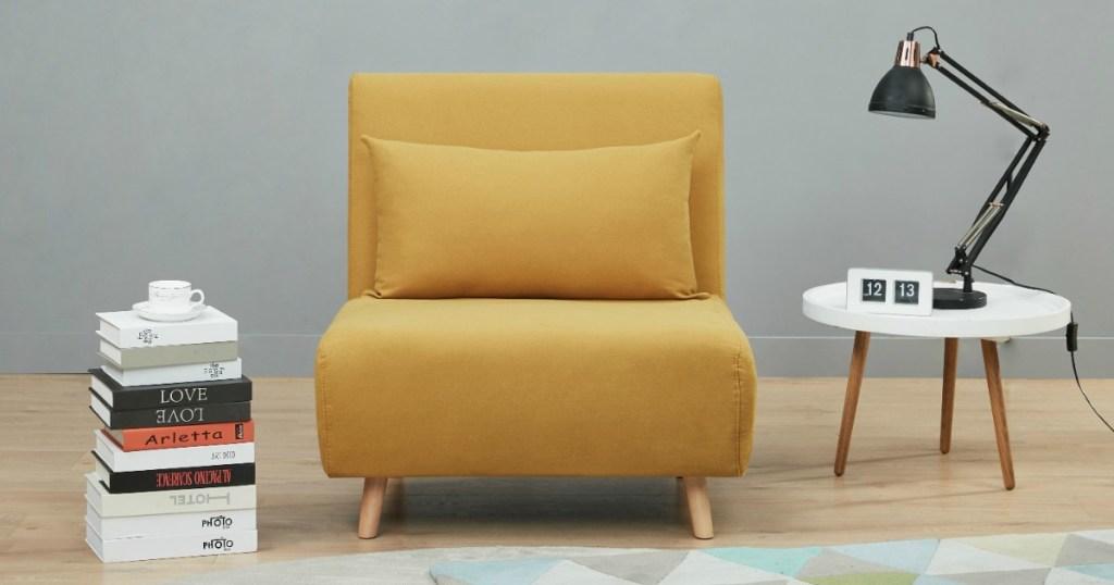 yellow futon chair