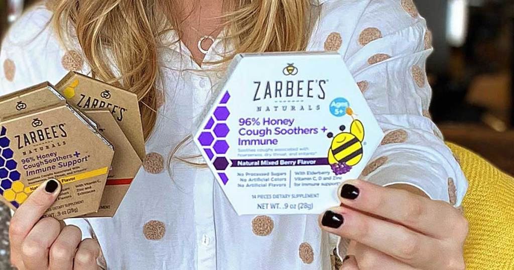 Mom holding Zarbee's drops