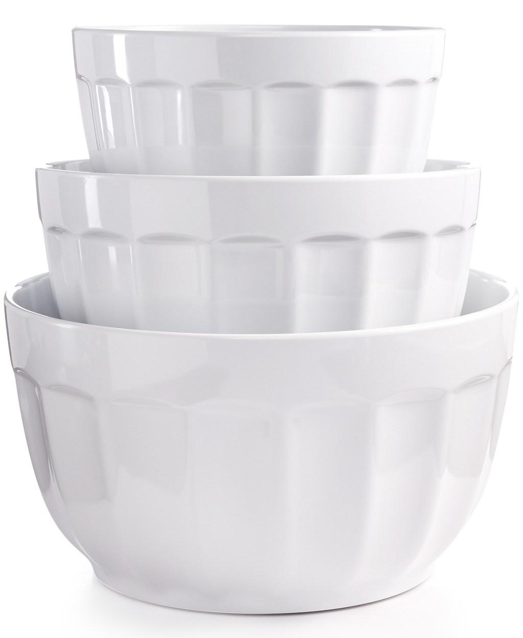 martha stewart melamine fluted mixing bowls white stacked