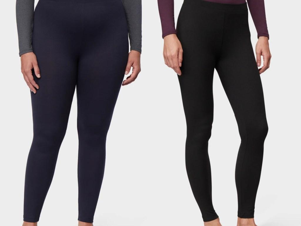 2 women wearing baselayer leggings