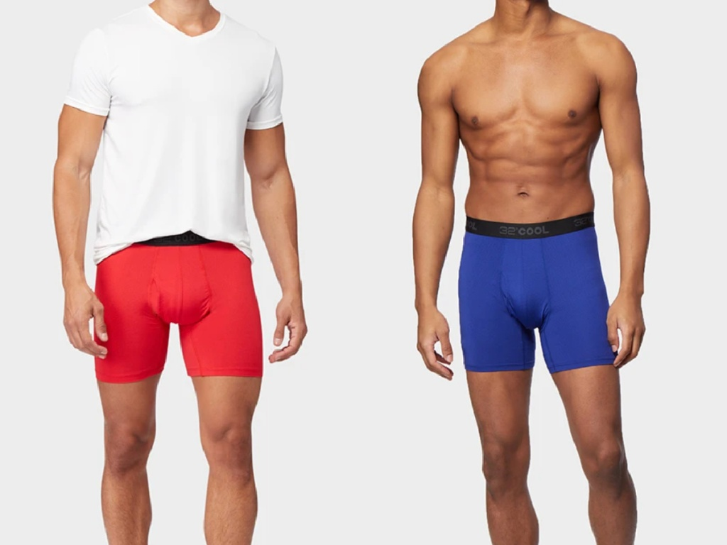 2 men wearing red and blue boxer briefs
