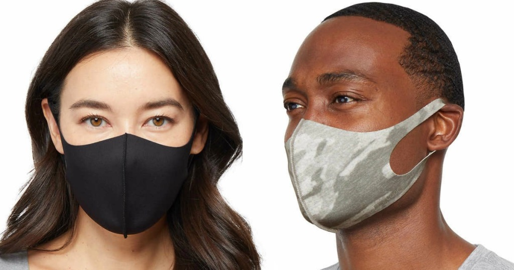 man and woman wearing 32 degrees adult masks