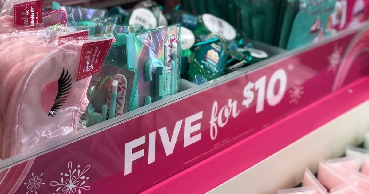 A five for $10 deal on various items at a store