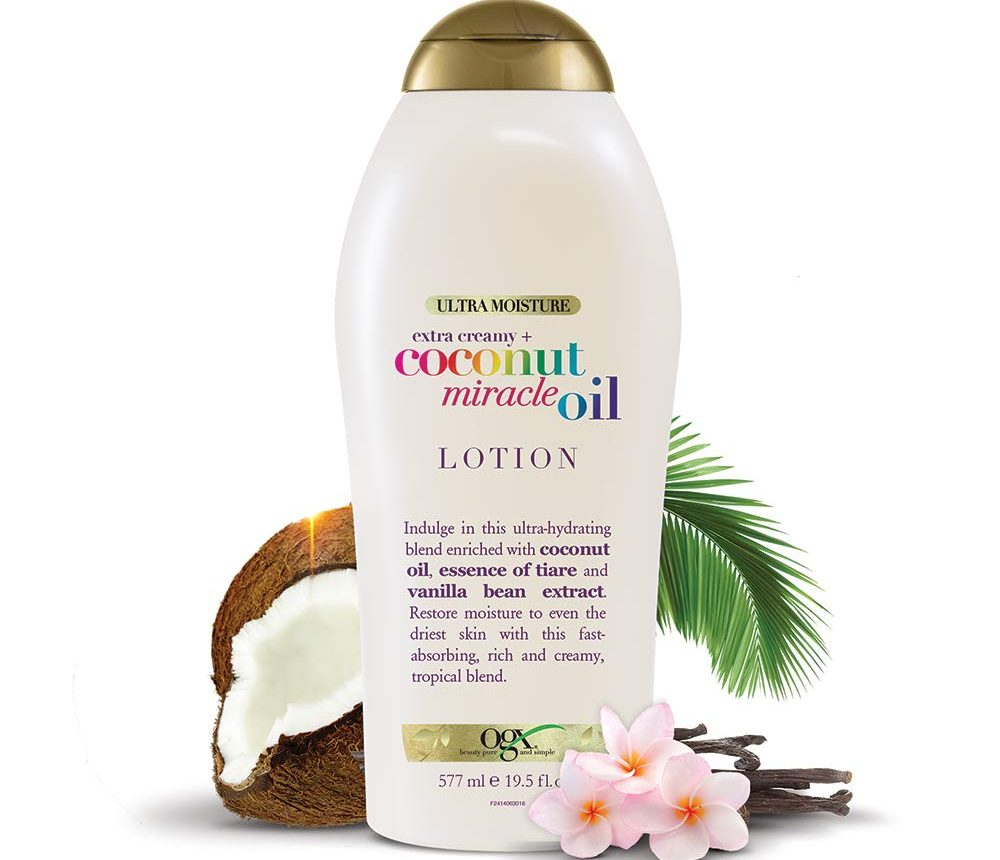 ogx coconut lotion bottle with coconuts