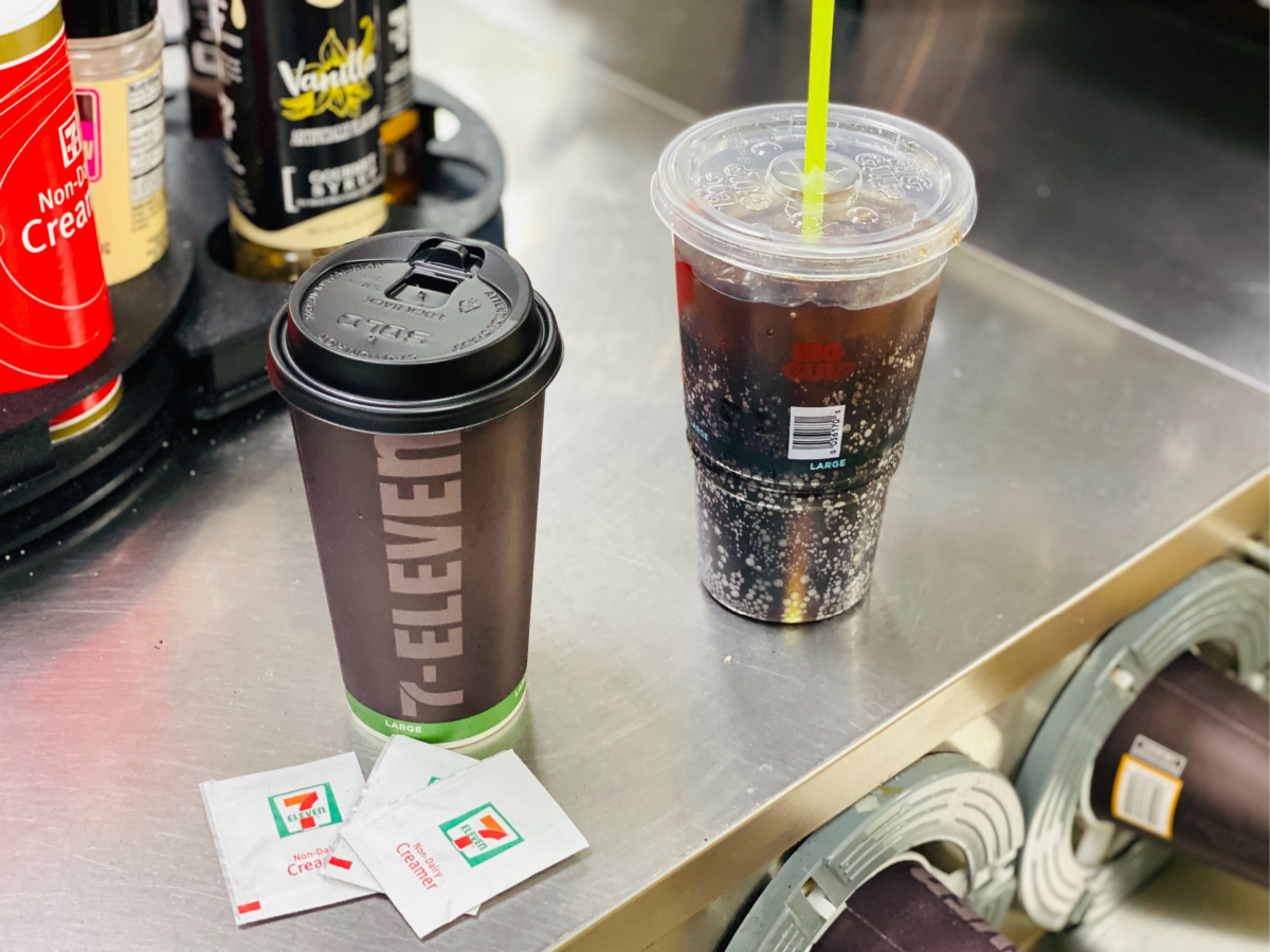 7-eleven with with hot coffee and soda