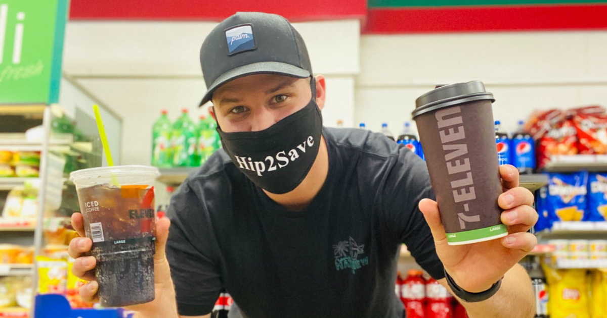 man holding 7-eleven hot coffee and soda