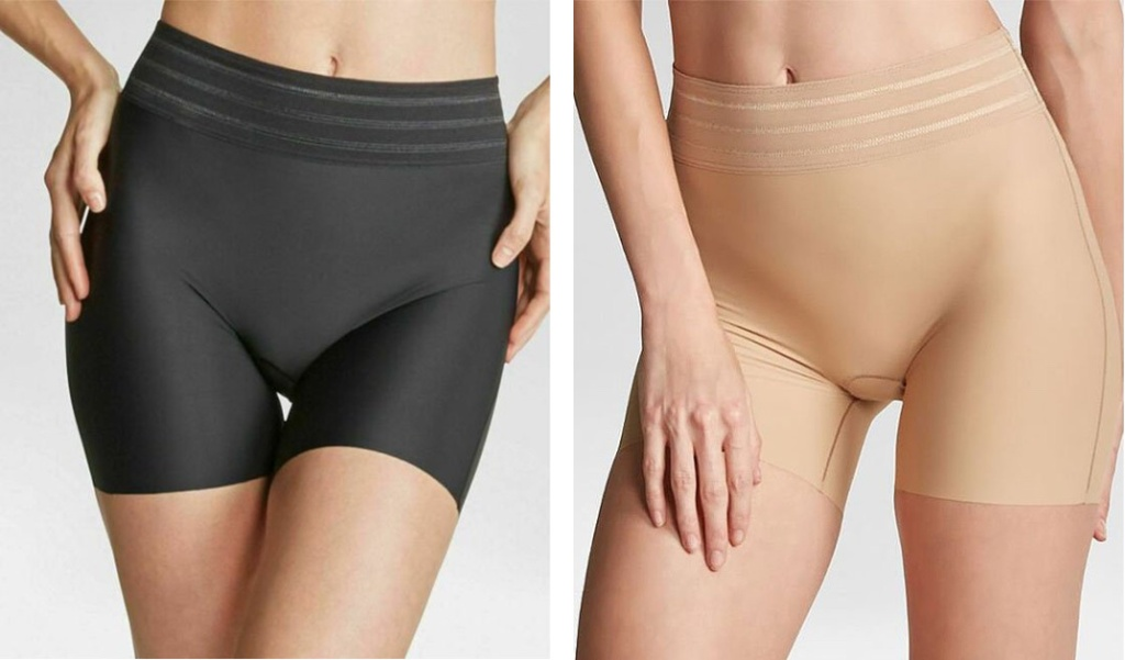 two pairs of black and tan ASSETS by SPANX Micro Shaping Short