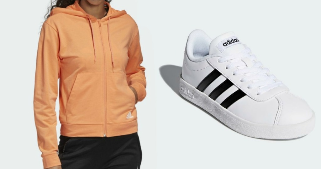 woman wearing Adidas Hoodie next to a pair of white shoes