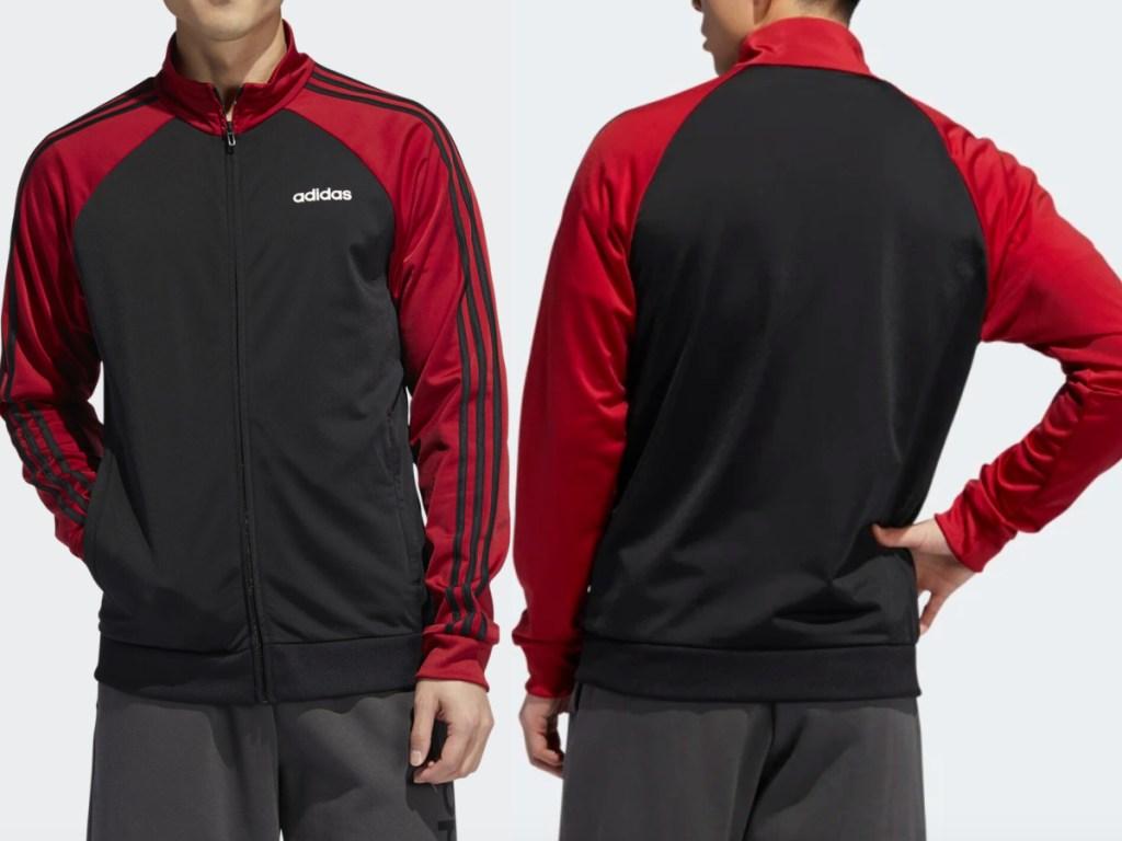 man wearing black and maroon adidas track jacket facing front and back