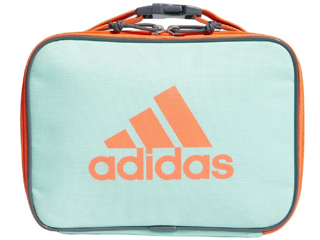 pink and blue adidas lunch box