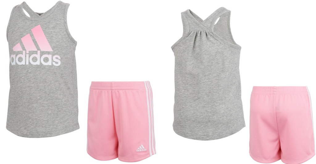 adidas pink and gray shorts set